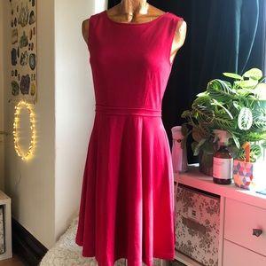 Red cotton midi stretch dress